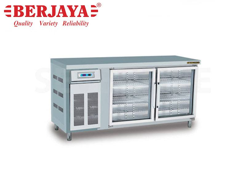 ELECTRIC 5FT 2 DOOR REFRIGERATED BARLINE WITHOUT BACKSPLASH , WITH LEG