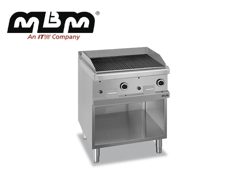 GAS CHARCOAL GRILL ON OPEN STAND IRON GRID
