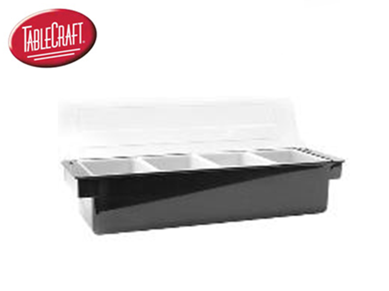 BLACK CONDIMENT HOLDER 4 COMPARTMENT {INSERT 1-1/2 QT} WITH POLYCARBONATE LID
