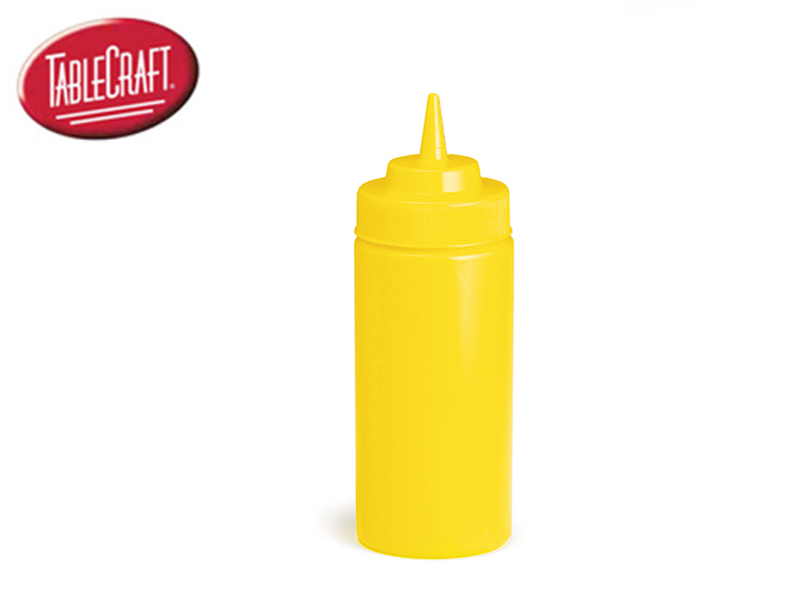 SQUEEZE DISPENSER MUSTARD WITH STANDARD CAP 16 OZ, YELLOW