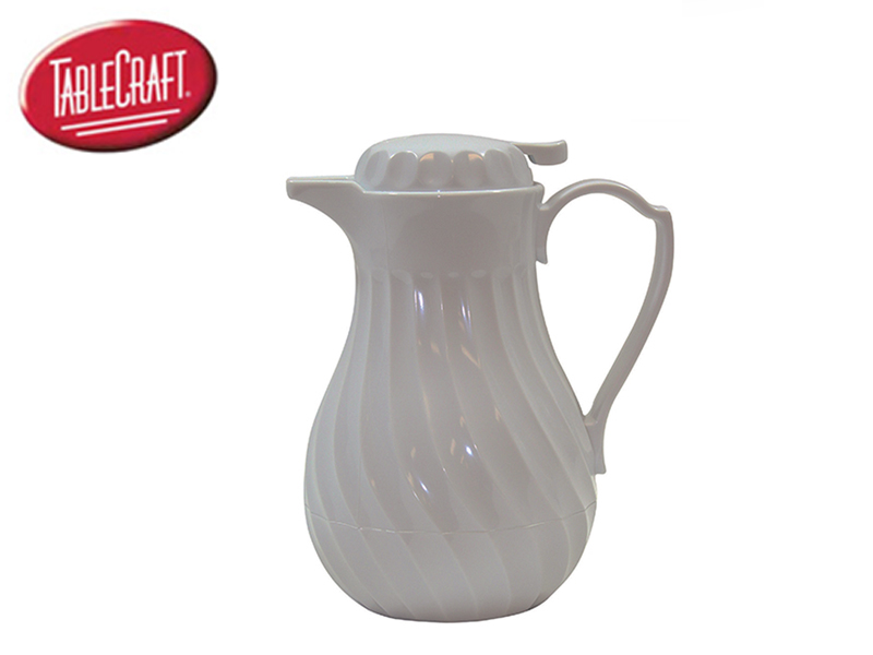 PLASTIC SWIRL WITH THUMB PRESS ( 60 OZ DECANTER, WHITE)