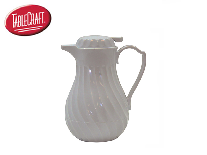 PLASTIC SWIRL WITH THUMB PRESS ( 40 OZ DECANTER, WHITE)