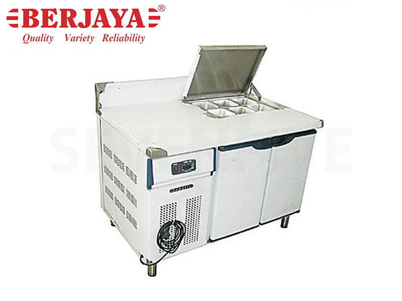 4FT 1 DOOR SANDWICH COUNTER CHILLER - BLOWER SYSTEM {WITHOUT BACKSPLASH} {WITH LEG}