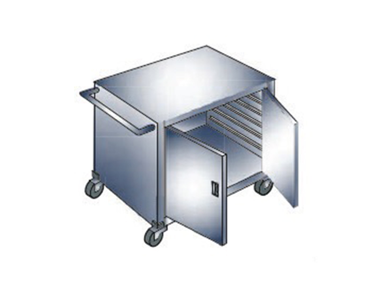 STAINLESS STEEL KITCHEN TROLLEY WITH SWING DOORS