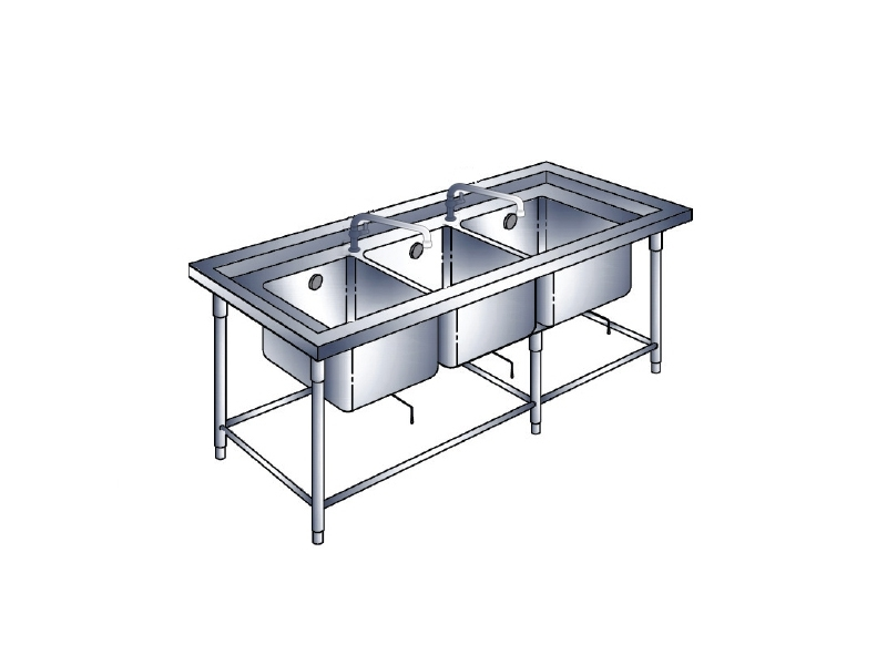 TRIPLE SINK TABLE WITH 2 FAUCET