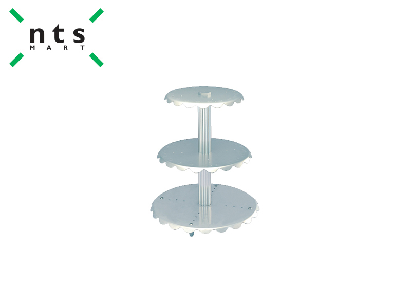 AL.ALLOY WEDDING CAKE STAND -3 TIER CENTRAL PILLARS