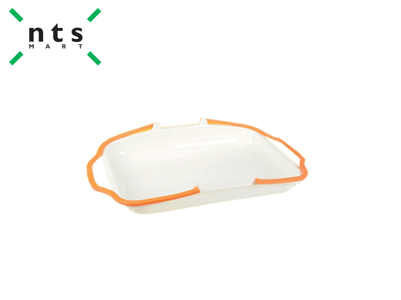 PLASTIC BASKET (RICE WHITE / ORANGE)