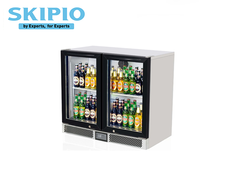 2 DOORS BACK BAR CHILLER BLACK (SWING DOOR)