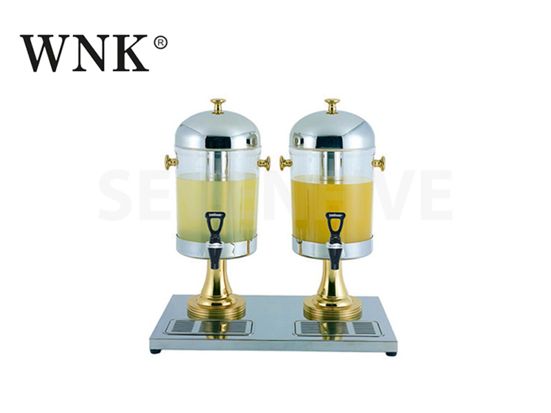 DOUBLE JUICE DISPENSER (BRASS HANDLES, KNOB AND LEG)