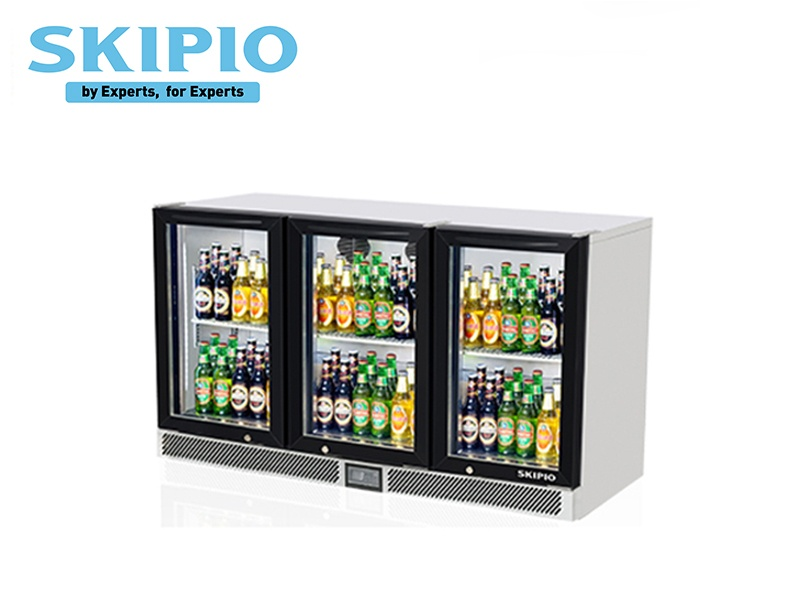 3 DOORS BACK BAR CHILLER BLACK (SWING DOOR)