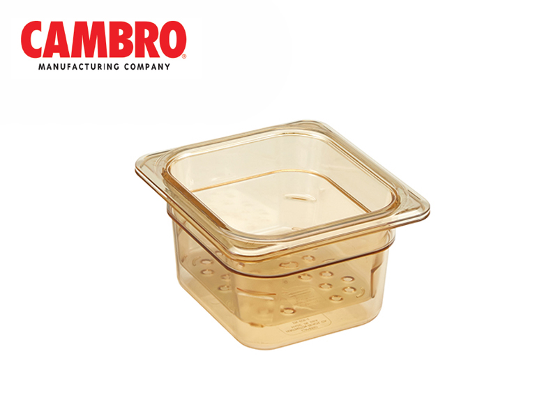 CAMWEAR POLYCARBONATE GASTRONORM H-PAN COLANDAR GN1/6, AMBER