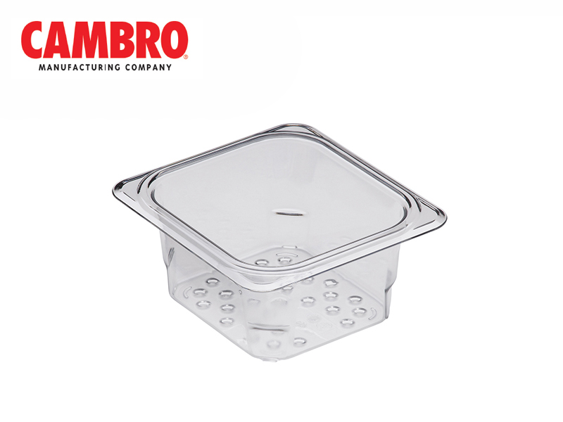 CAMWEAR POLYCARBONATE GASTRONORM FOOD PAN COLANDAR GN1/6, CLEAR