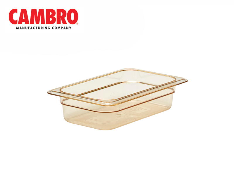 POLYCARBONATE GASTRONORM HIGH HEAT H-PAN SIZE GN 2/4 DEPTH 100 MM , AMBER