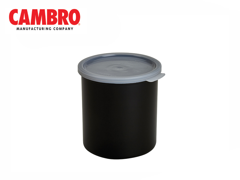 SOLID COLOUR CROCK W/LID, BLACK