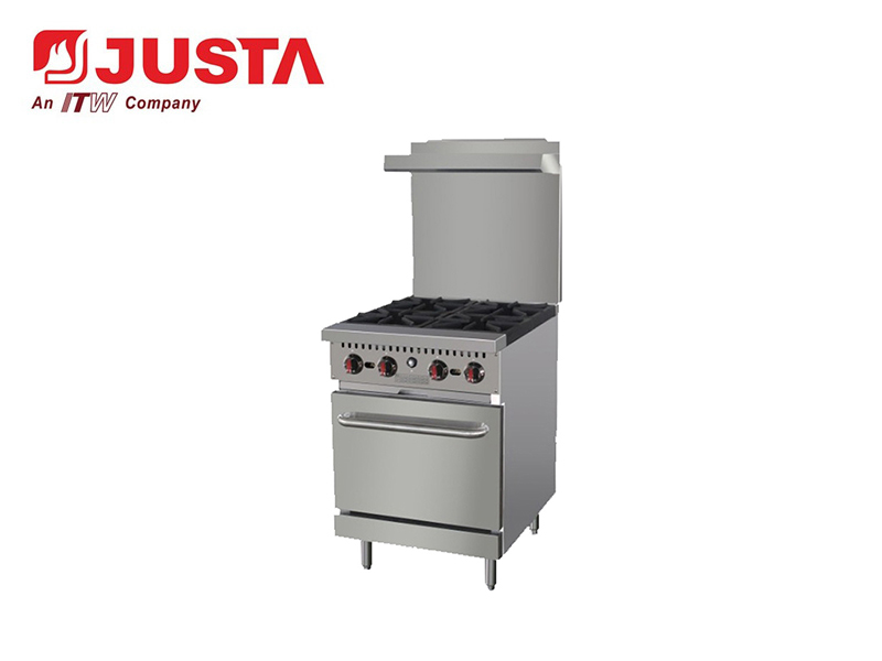 GAS 4-BURNER WITH OVEN(WITH REAR PLATE)