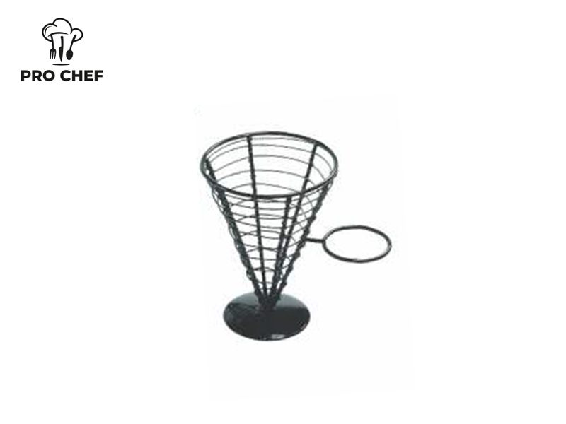 BASKET CONICAL W/ONE CUP BLACK 12.8x18 CM