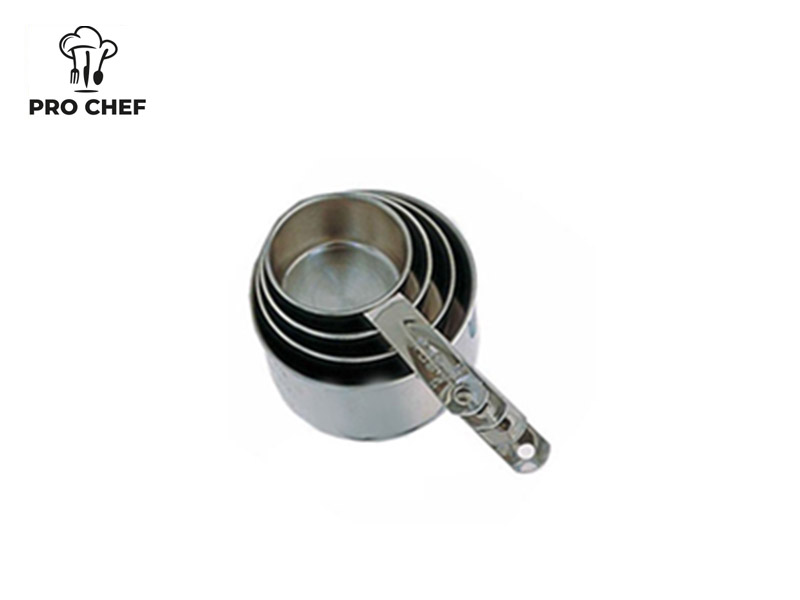 S/S 4 PC LIGHT MEASURING CUP SET STRIP HANDLE